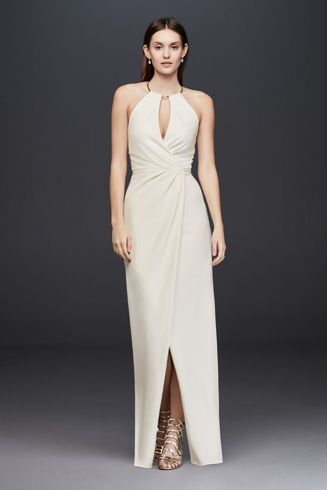 Draped Crepe Sheath Dress with Necklace Detail Style 865983D ... 208be6d40
