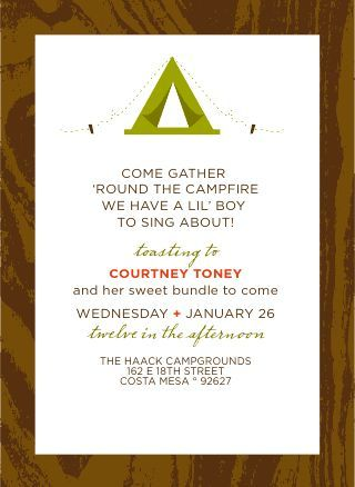 Camping Themed Baby Shower. Cute Wording