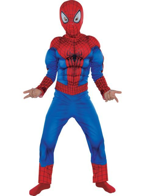 Boys Spiderman Muscle Costume - The Amazing Spider-Man 2 - Party City talla 6  sc 1 st  Pinterest & Boys Spiderman Muscle Costume - The Amazing Spider-Man 2 - Party ...