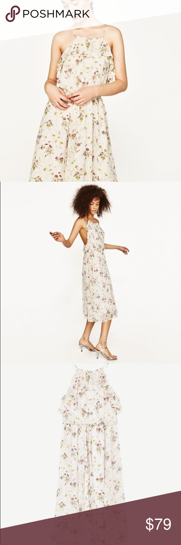 a613b0f7762a Zara off white floral dress Pretty pretty dress for spring/ summer....  sequins scattered throughout......love cream color with small floral print  Zara ...