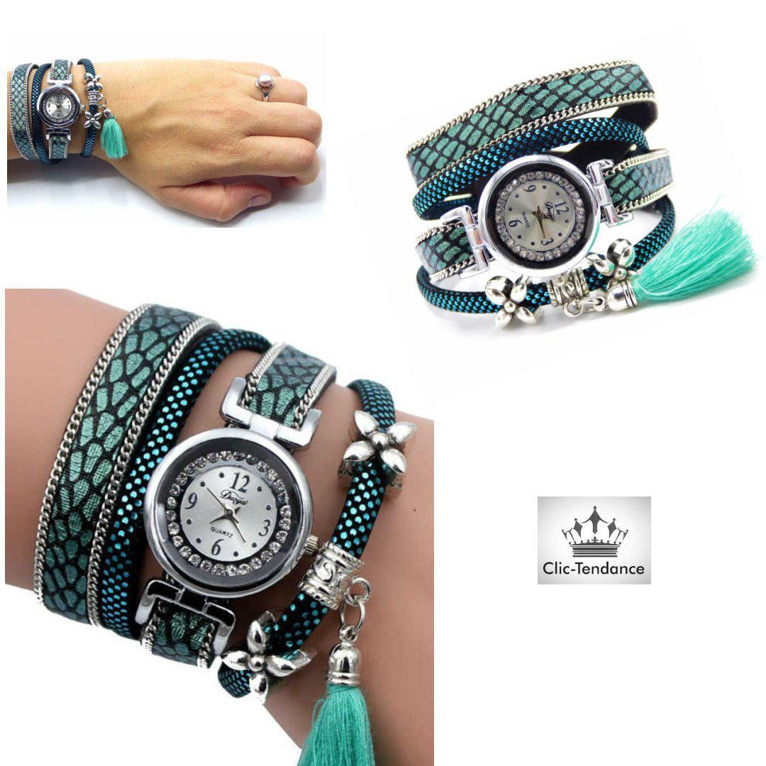 Montre Femme Multi-rangs Turquoise , argent breloque et pompom de la  boutique ClicTendanceFR   062d49c9fb4