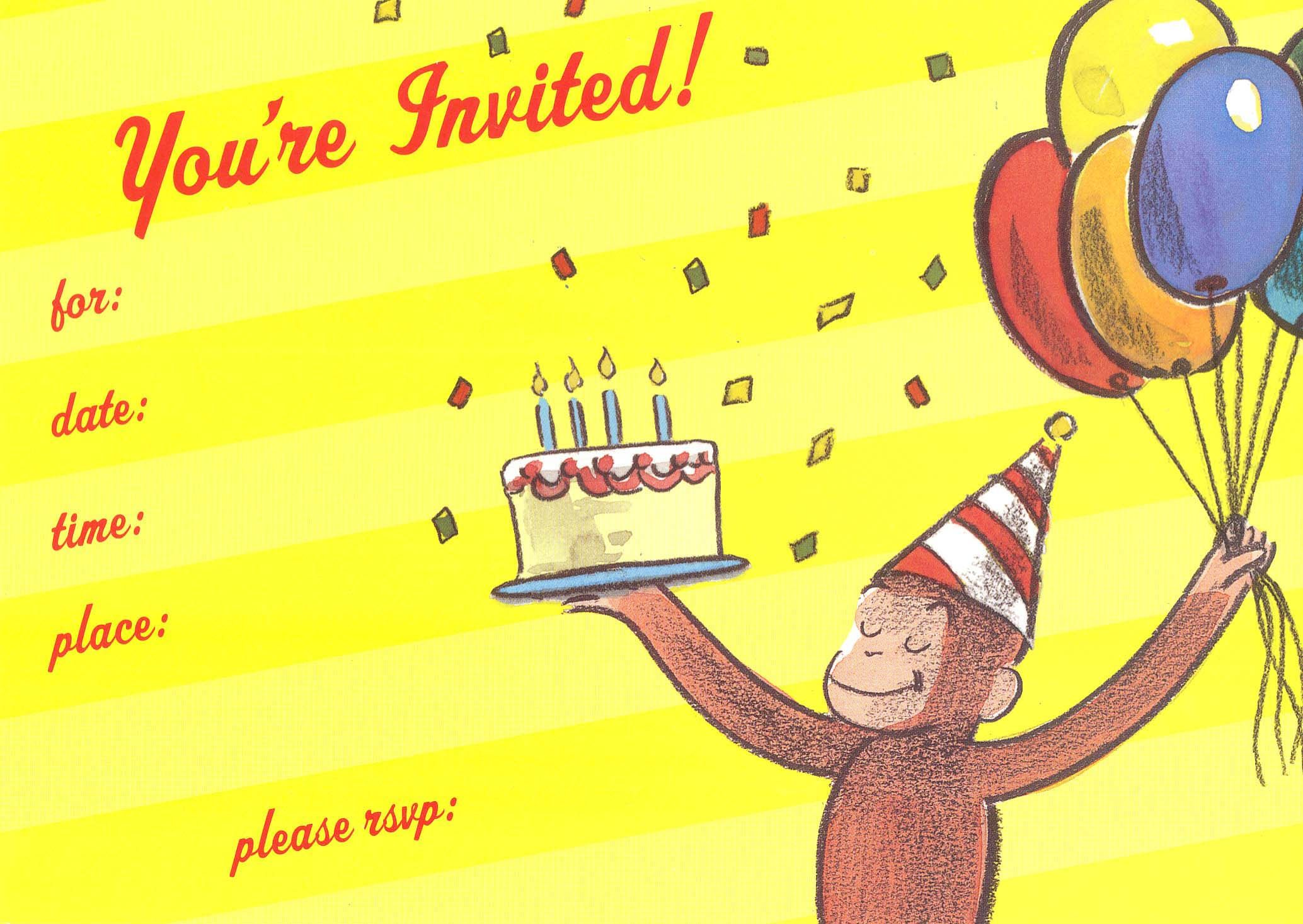curious george invite Curious George Party Pinterest Curious