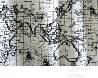 World map linen cotton fabric vintage voyage navigation sailing boat vintage world map linen cotton fabric voyage sailing ocean collection for home decor curtain quilting fabric gumiabroncs Gallery