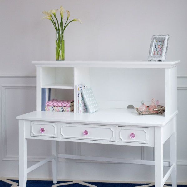 Attrayant White Desk With Hutch And Detailed Drawer Fronts. Pink Crystal Knob  Accents! Craftbedrooms.com