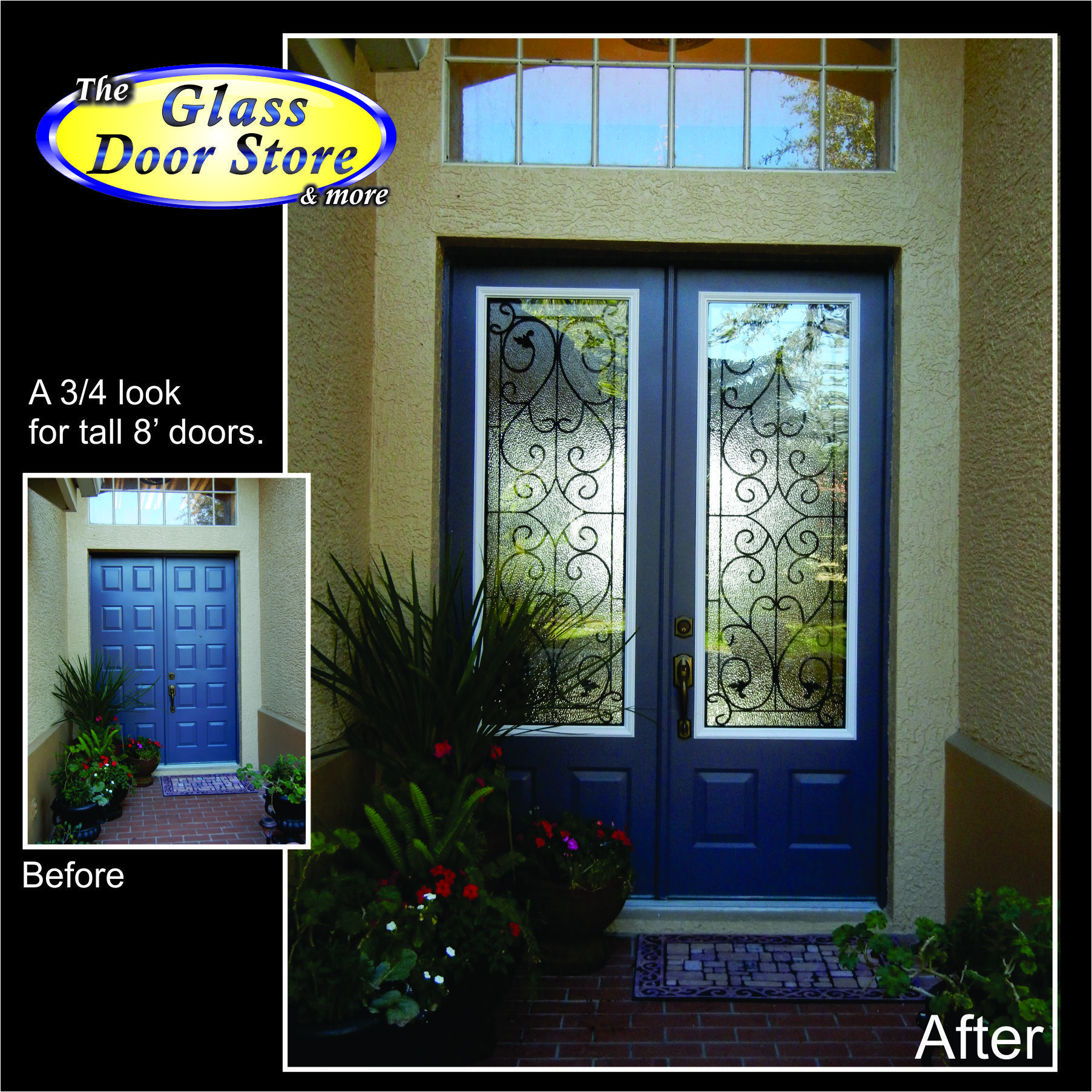 Wrought Iron In Double 8 Ft Front Doors With Partial Glass
