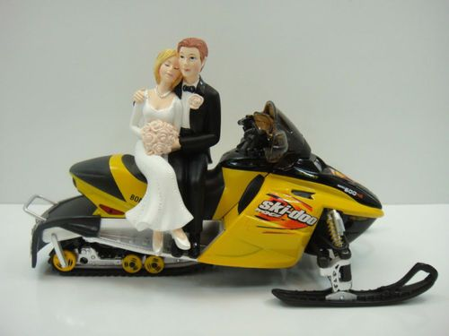 Bride Groom Snowmobile Cake Topper