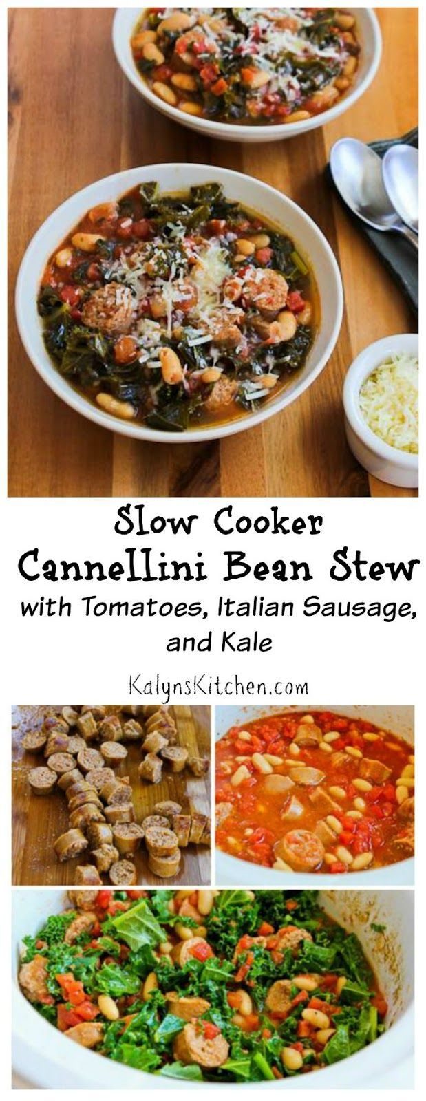This Slow Cooker Cannellini Bean Stew with Tomatoes, Italian Sausage, and Kale is delicious and easy to make. I love to use spicy turkey Italian sausage in this recipe. [from KalynsKitchen.com]