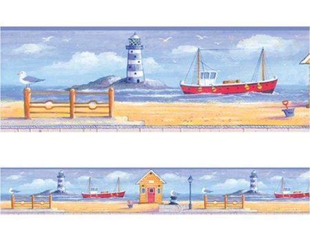 Amazon Com Ocean And Lighthouses Peel Stick Wallpaper Border Home Kitchen Wallpaper Border Peel And Stick Wallpaper Wallpaper