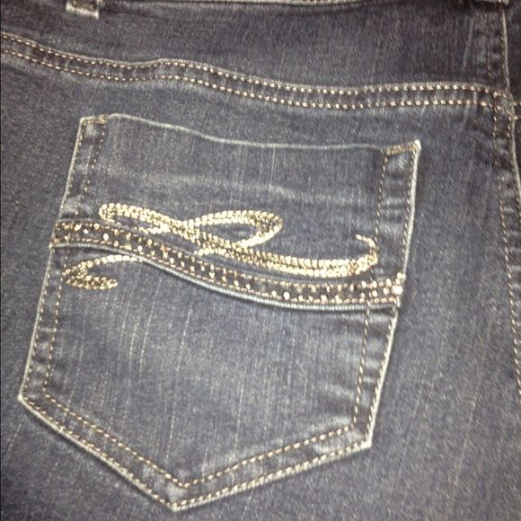 Style & Co dark embellished jeans Super cute, dark jeans. Stretchy, Tummy Control, Embellished on 3 pockets (both back) and 1 front. Size 16P. Bought from Macy's Style & Co Jeans Boot Cut