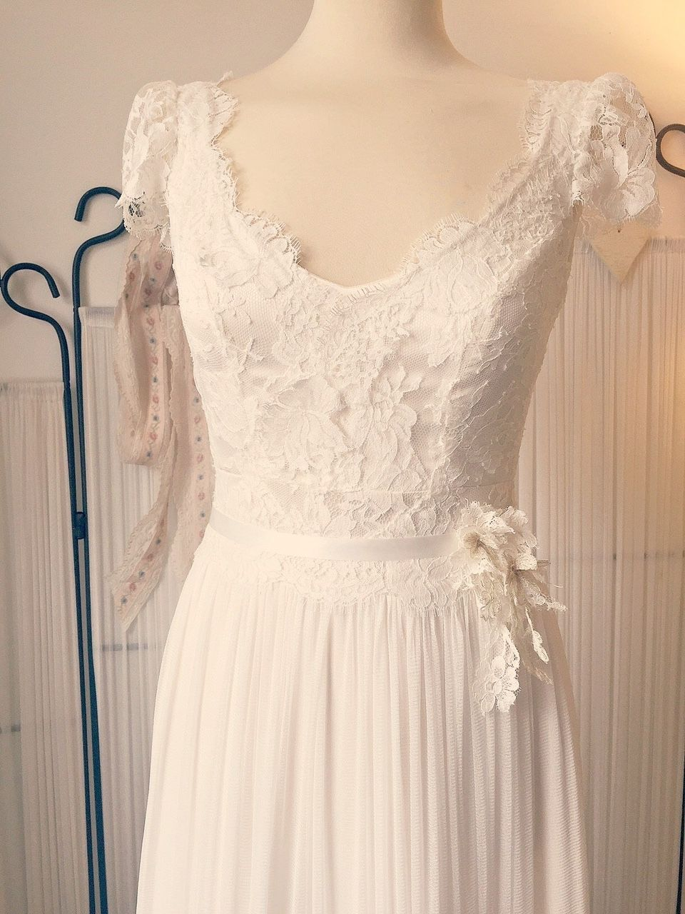 Boho style French Lace and silk wedding dress by Dana Bolton ...
