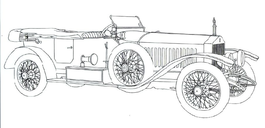 Classic car coloring pages Rolls Royce Continental  COLORING