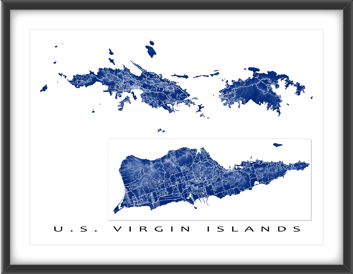 us virgin islands usvi map includes the main islands of st