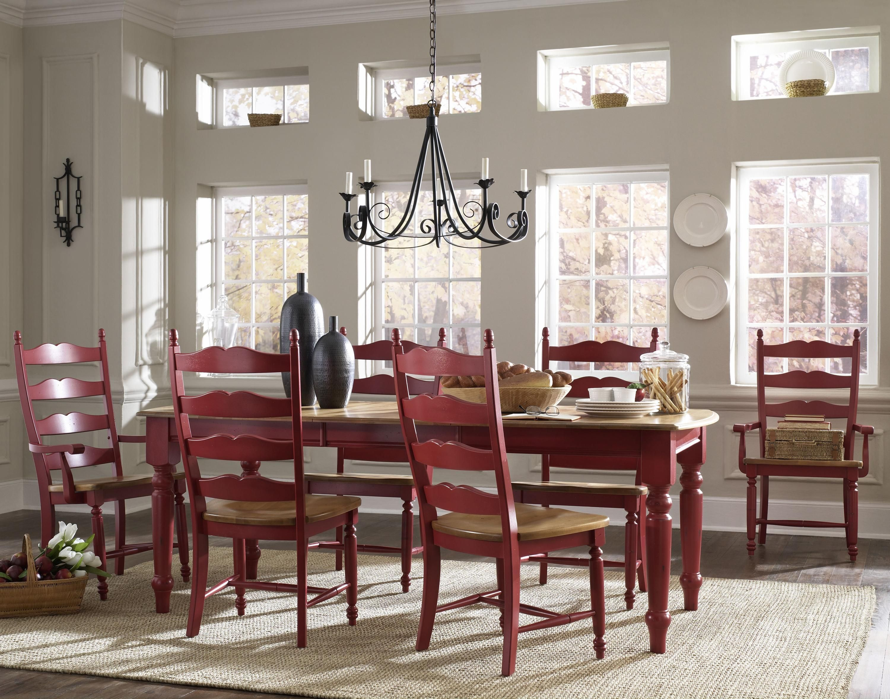 Customizable Country Estate Dining By Canadel Shown In Red A Country Chic Collection Mobilier De Salon Service De Table Belles Salles A Manger