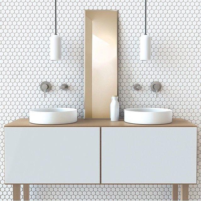 Minimal Brass White Pattern Hexagonal Mosaic Contemporary Vanity Symmetry