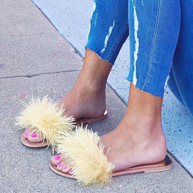 Zoey Chinese Laundry Flat Sandals Glamour Shoes Fringe Shoes