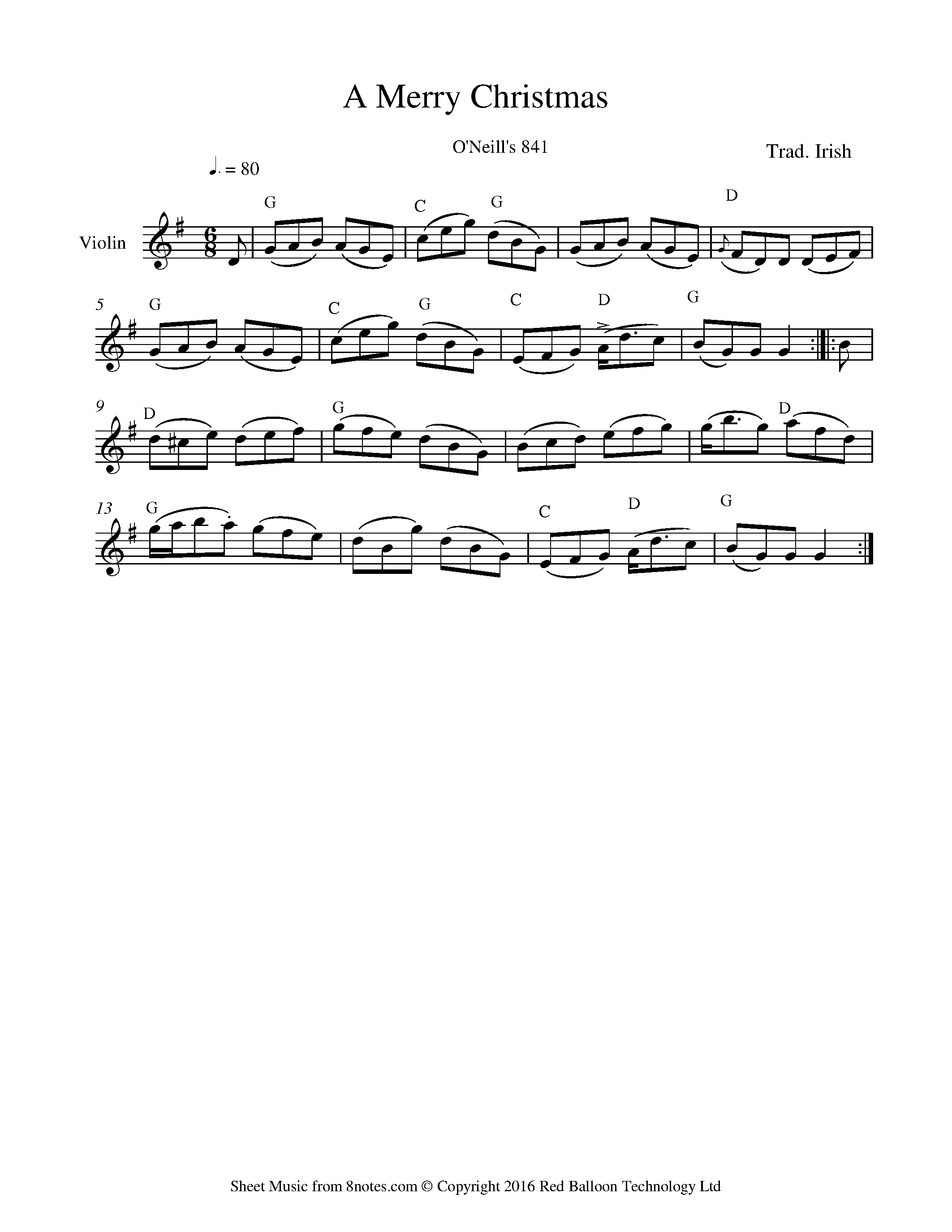 A Merry Christmas (Irish Trad.) sheet music for Violin - 8notes.com ...