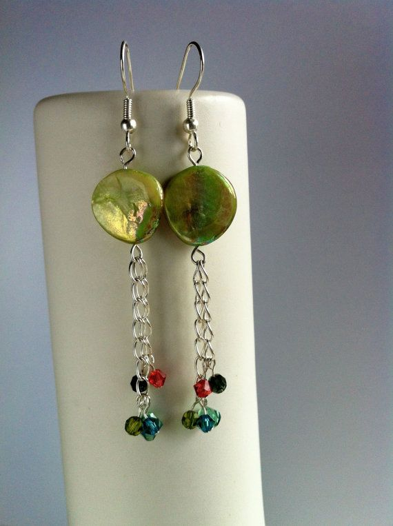 Green Mother of Pearl Dangle Earrings with Swarovski by PhoebeKiKi, €24.00