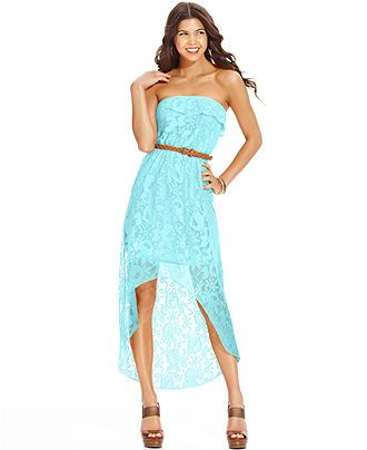 Trixxi juniors 39 lace ruffled high low dress juniors for Dresses for juniors for weddings