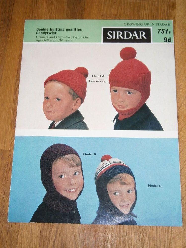 Vintage knitting pattern sirdar 751 dk childs helmets and cap ...