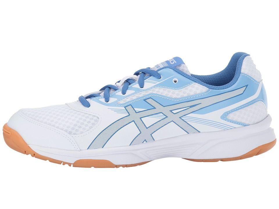 Asics Gel Upcourt 2 Women S Volleyball Shoes White Regatta Blue Airy Blue Volleyball Shoes Asics Women Volleyball