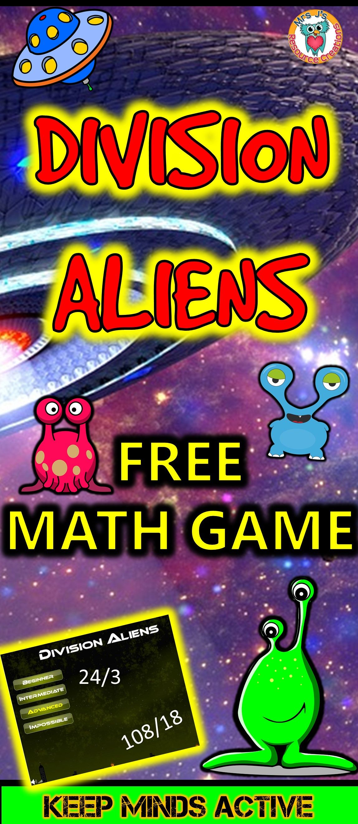 Division Aliens - Fun Free math game to play online! | Division ...