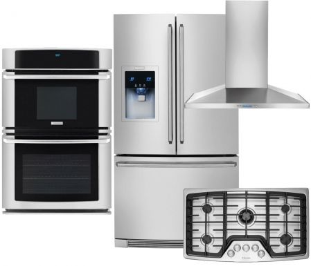 4 Piece Stainless Steel Kitchen Package Lights Menards Image Of Wave Touch With Ew23bc85ks 36 French Door Refrigerator Ew30mc65ps 30 Electric Double Combination Wall