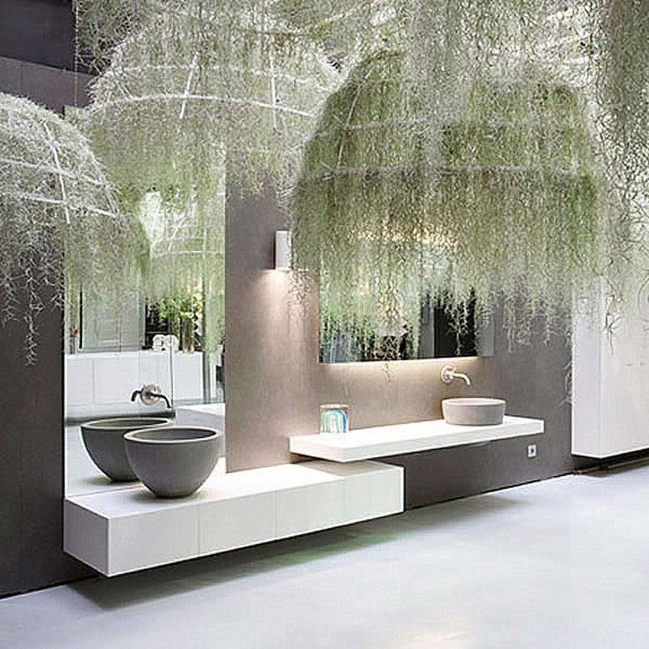 Hanging Plant Lamp Ornaments In Delightful Bathroom Decoration Listed