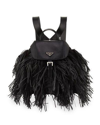 126bc76313cdd8 V2SG4 Prada Soft Calfskin and Tessuto Fringe Backpack, Black (Nero ...