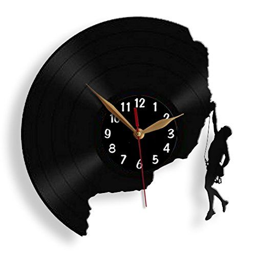 Rock Climber Climbing Vinyl Record Wall Clock 12 Inch 30cm Modern Mountaineering Black Wall Art Decor Diy Clock Wall Rock Climbing Gifts Climbing Gifts