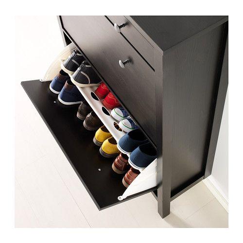 Hemnes range chaussures 2 casiers brun noir hemnes for Casiers chez ikea