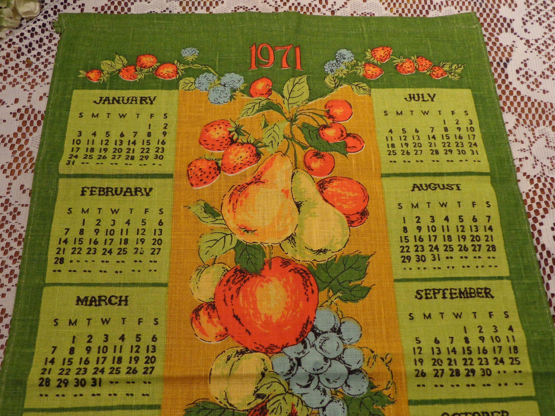 1971 Calendar Linen Tea Towel Fruit Kitchen Towel 20 101 In