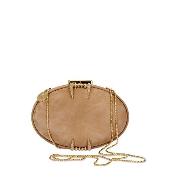 "Maison Du Posh ""Bite Me"" Suede & Swarovksi Clutch (13.925 ARS) ❤ liked on Polyvore featuring bags, handbags, clutches, clasp purse, suede leather handbags, suede clutches, chain strap purse and beige clutches"