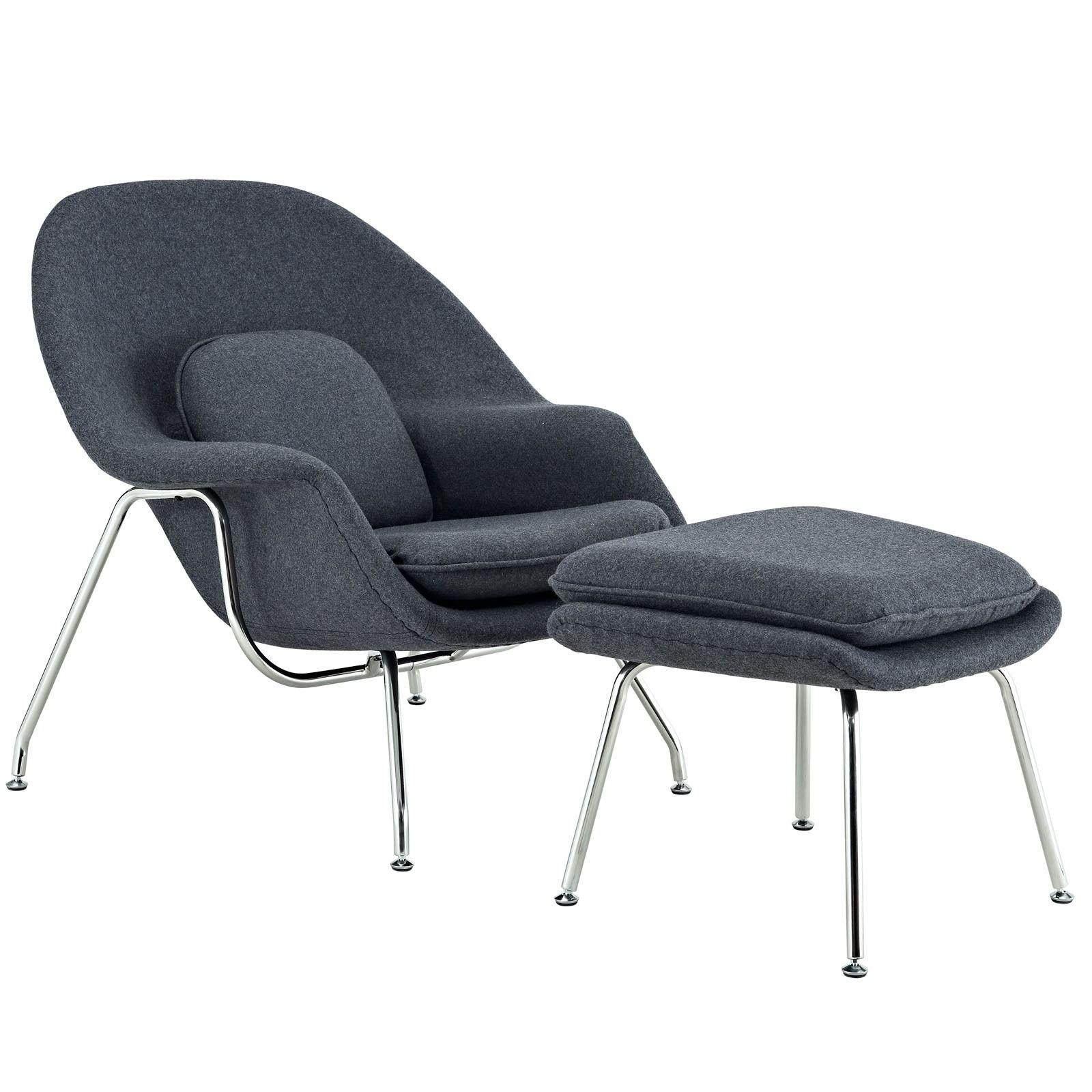 Modway Eero Saarinen Style Chair/ Ottoman Set (Blue Tweed), Red ...