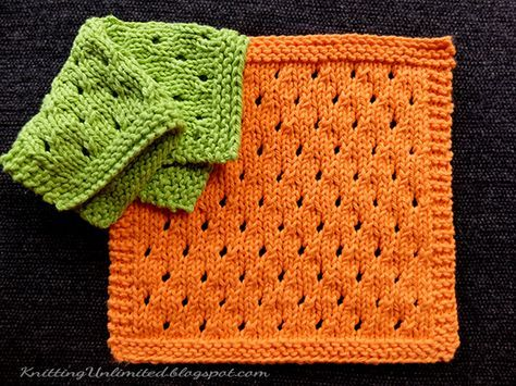 Staggered Eyelets Knitted Dishcloth Pattern Beginning Knitting