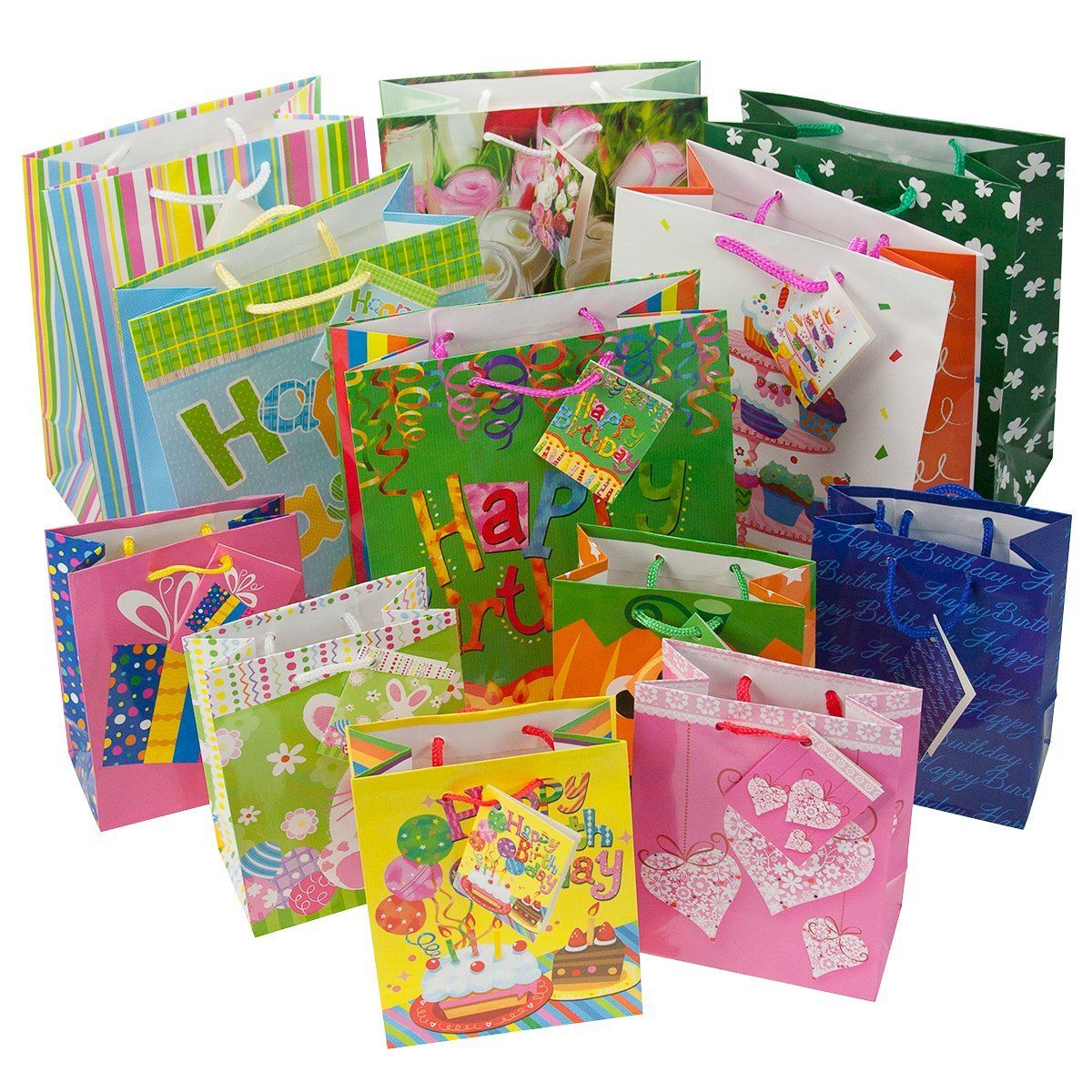 12pc gift bags set birthday valentines easter halloween