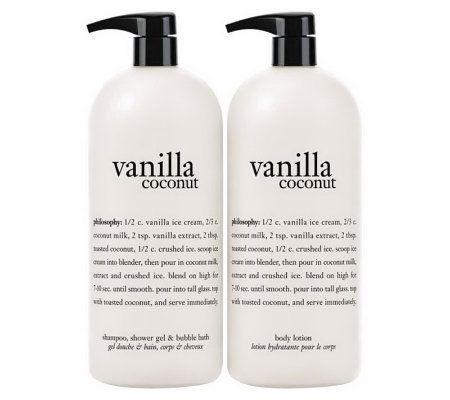 Philosophy Vanilla Coconut Super Size Gel Lotion Duo A236966 Qvc Com Vanilla Coconut Lotion Gel