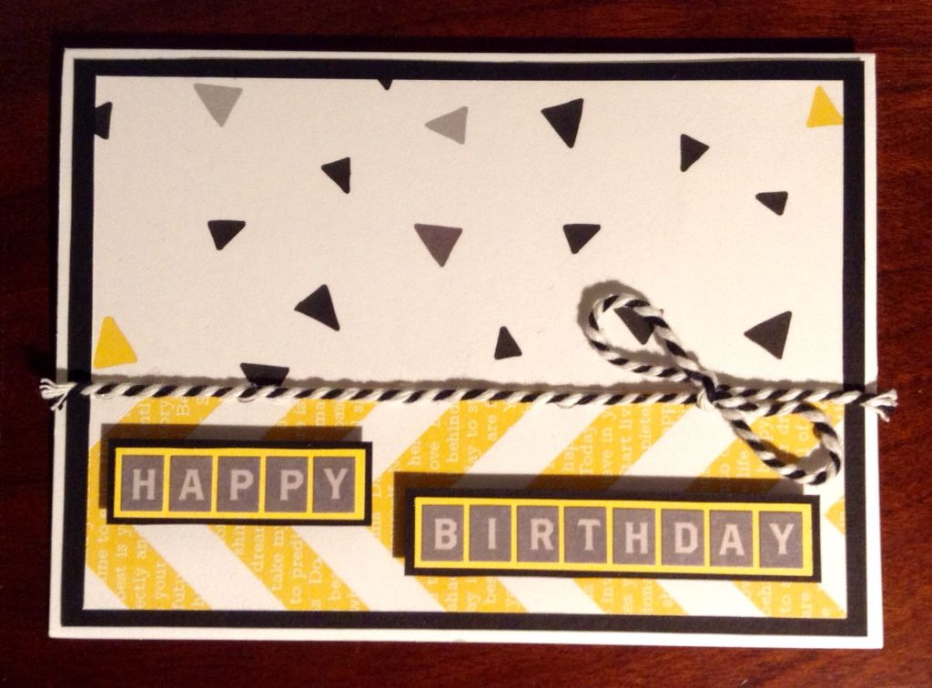 Handmade Birthday Card For A Guy Graphic Yellow And Grey