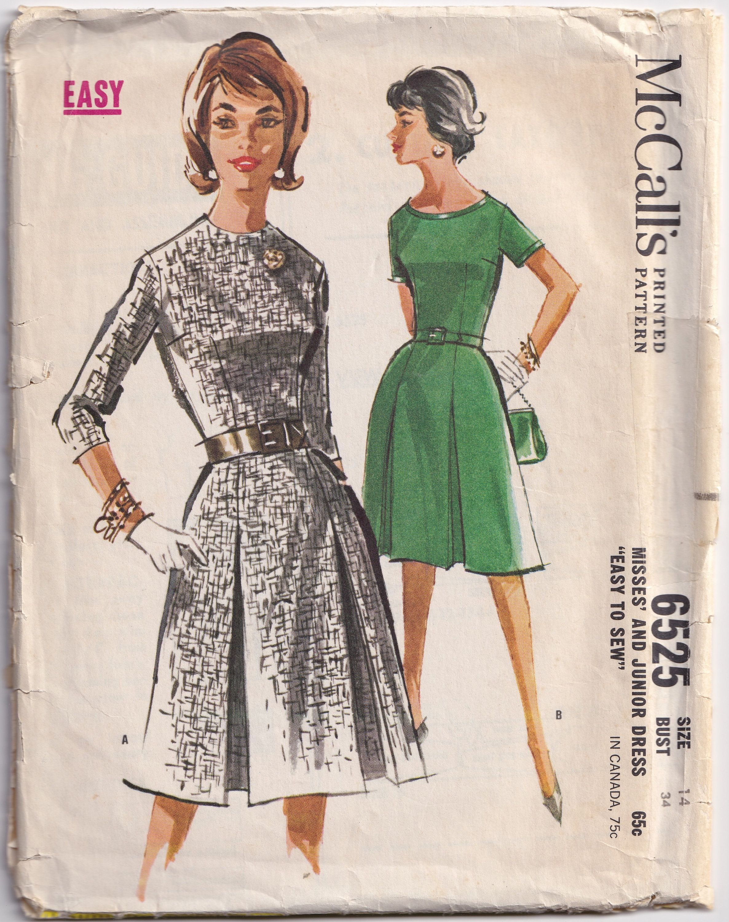 Vintage 1962 Mccall S 6525 Sewing Pattern Misses Etsy In 2020 Vintage Outfits Size 14 Dresses Dresses