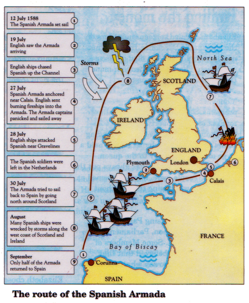 Detailed Map Of Spain In English.Spanish Armada Map Learning Mrbelshaw Co Uk The Story Of Britain