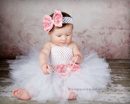 Vintage Rhinestone Rosette Fancy Little Baby Crochet Tutu Dress ...