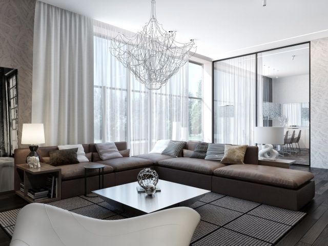 modernes wohnzimmer braunes sofa schiebetür essbereich Haus - dunkle fliesen wohnzimmer modern