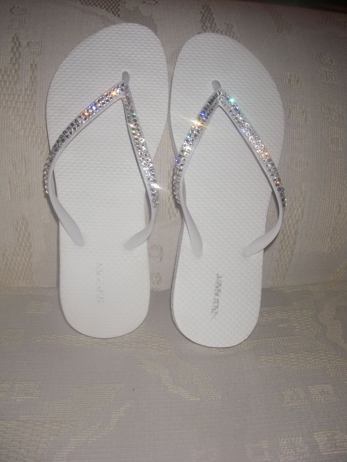 ba29b6daded809 Perfect for a Wedding-- REAL Swarovski Crystals on White Flip Flops- Size 8