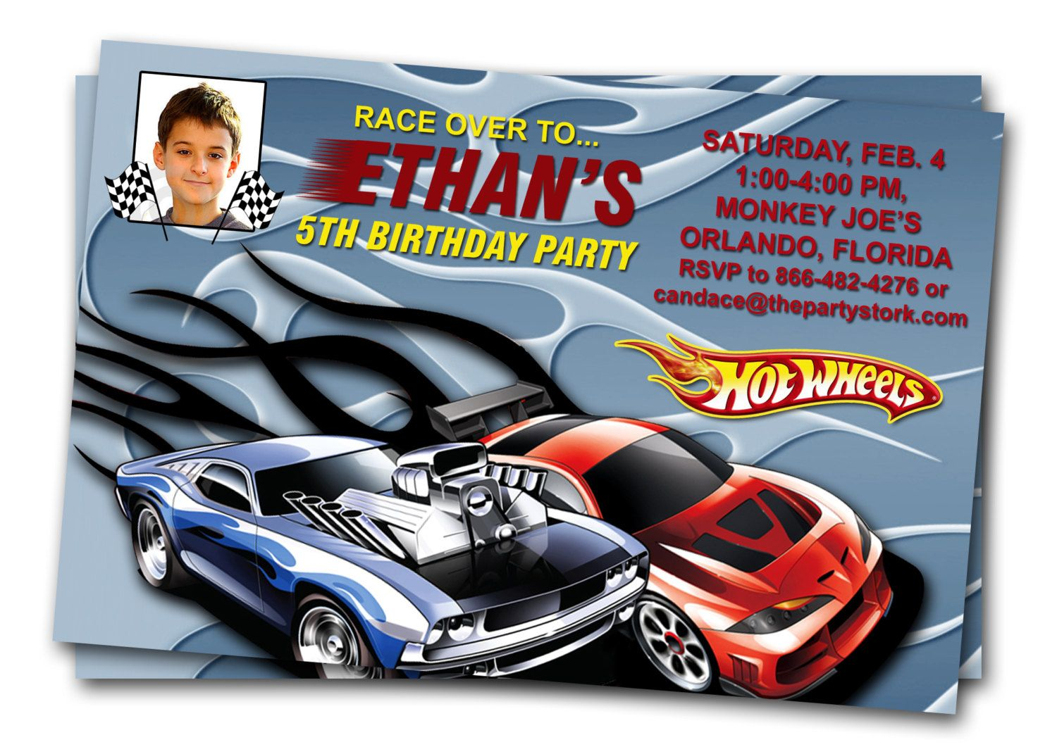 Hot Wheels Car Invitations Printable Boy Birthday Party Invite – Boys Party Invitations