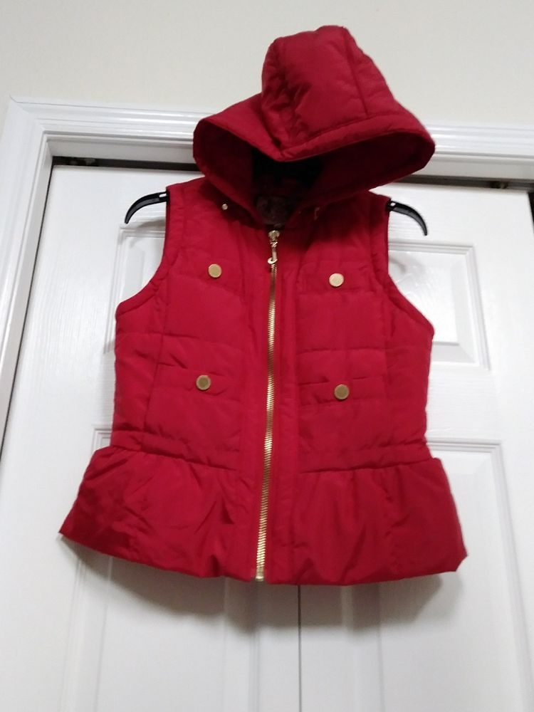 eBay  Sponsored JUICY COUTURE Women s Red Puffer Hooded Vest - Size Small 8a97132a6d