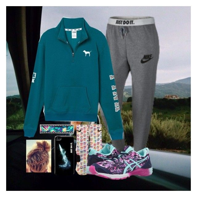 """Road Trip?"" by jmsmith462 on Polyvore featuring NIKE, Victoria's Secret PINK and Asics"