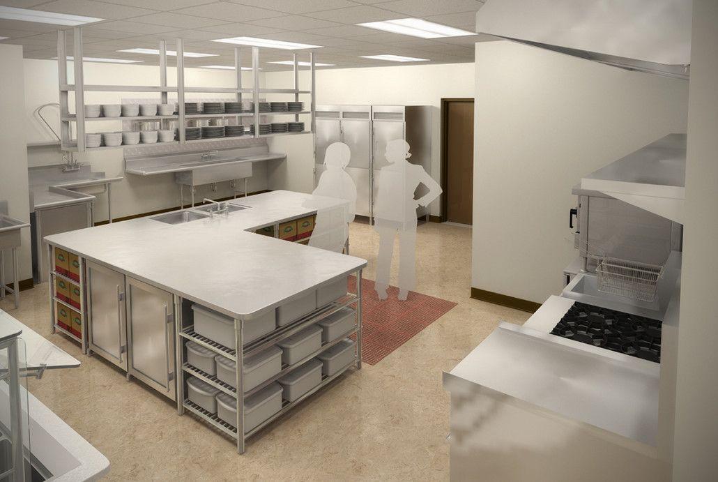 Church facility kitchen design 3D rendering. preVision 3D, LLC | 3D ...