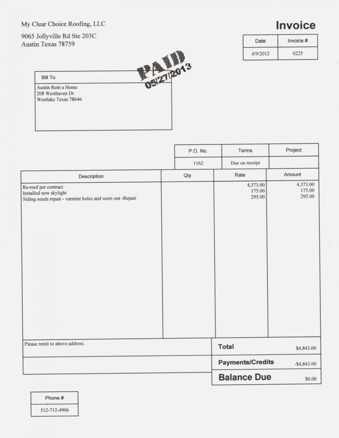 Get Our Example Of Roof Repair Invoice Template Appliance Repair Invoice Template Roof Repair