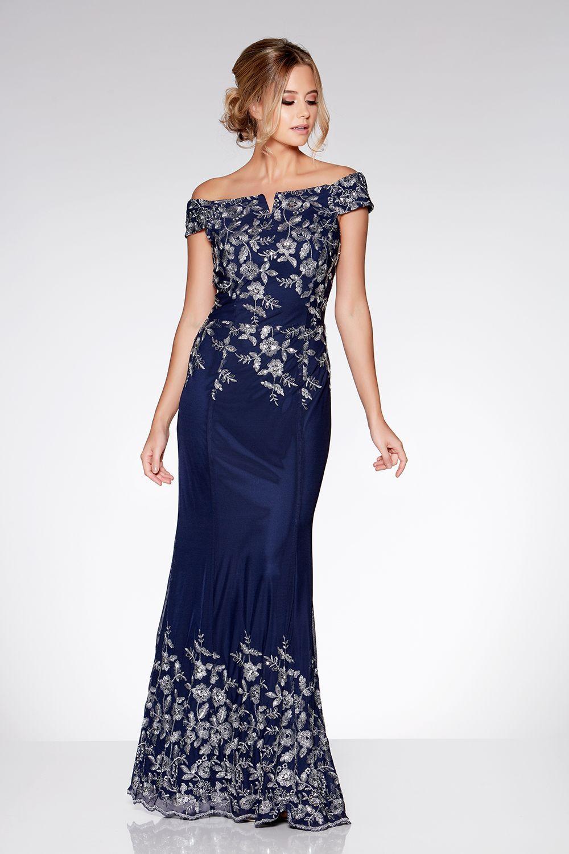 335406708 Resultado de imagen para vestido azul marino con plateado