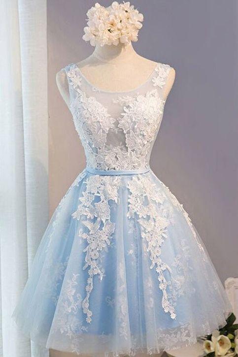 954daa938f2 Light Blue Sleeveless Homecoming Dress