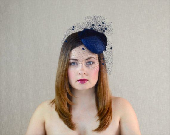 Navy Blue Pillbox Hat with Birdcage Veil and Velvet Bow - Dark Blue  Fascinator - Blue Cocktail Hat - 8a9706f6d68